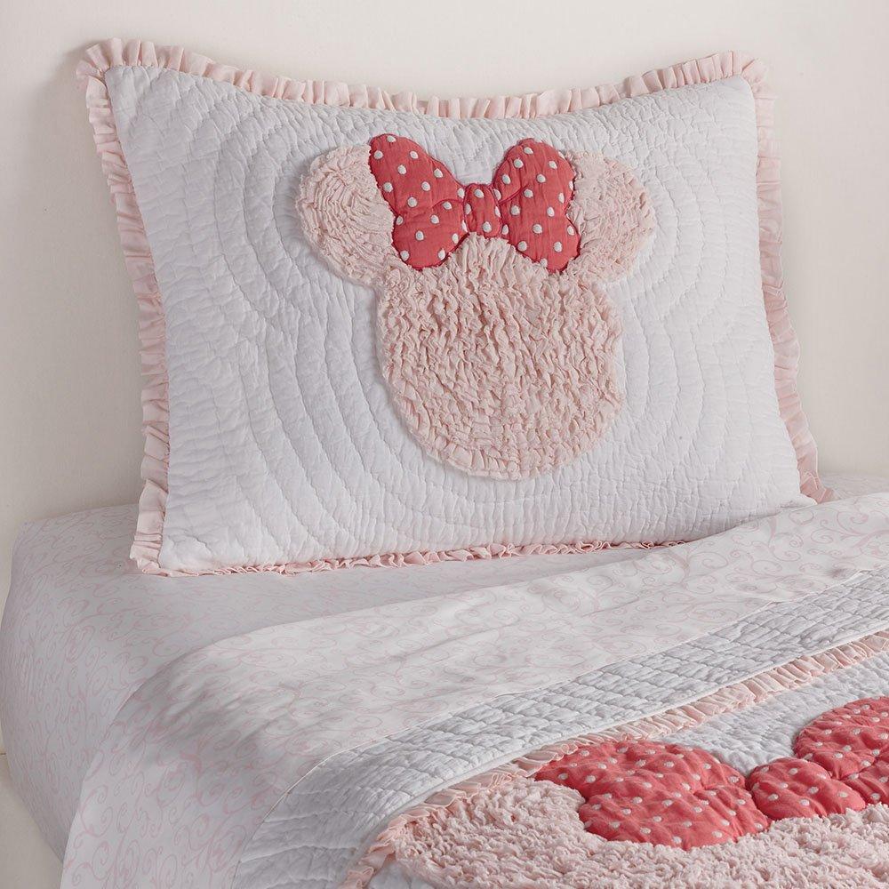 Ethan Allen | Disney  Minnie Mouse Really Ruffle Sham, Petal (Light Pink), Standard