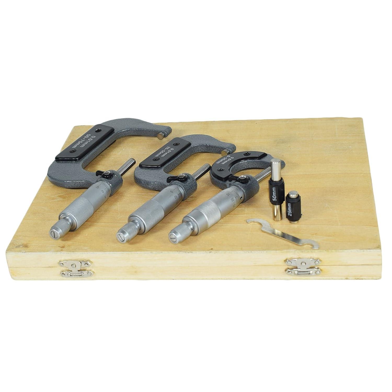 3pc externe micromè tre micromè tre mé trique ré glable 0 enclumes en carbure - 75mm AB Tools