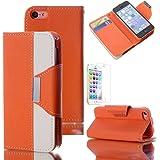 iPhone5C 用 手帳型レザーケース アイフォン iphone 5c ケース カバーダイアリー 横開き タイプ カード収納 ストラップ付き iPhone ケーススタンド機能 保護フィルム付き (オレンジ+ホワイト)
