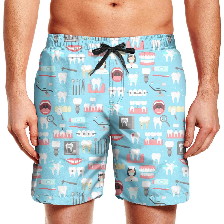 CCBING Dental Nurse and Dental Tools Sky Blue Printed Mens Hawaiian Swim Trunks Drawstring Elastic Waist Swimwear