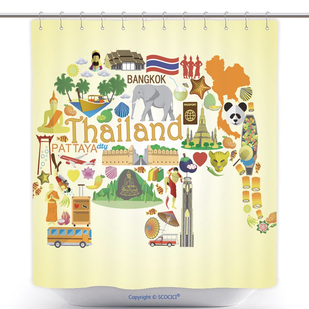 Cool Shower Curtains Thai Elephant. Set Vector Icons And Symbols Of Thailand_66997914 Polyester Bathroom Shower Curtain Set With Hooks by
