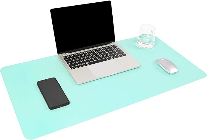 """YSAGi Multifunctional Office Desk Pad, Ultra Thin Waterproof PU Leather Mouse Pad, Dual Use Desk Writing Mat for Office/Home (31.5"""" x 15.7"""", Green-Blue)"""