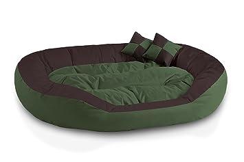 BedDog 4 en 1 SABA verde/marron XXL aprox. 110x80cm colchón para perro,