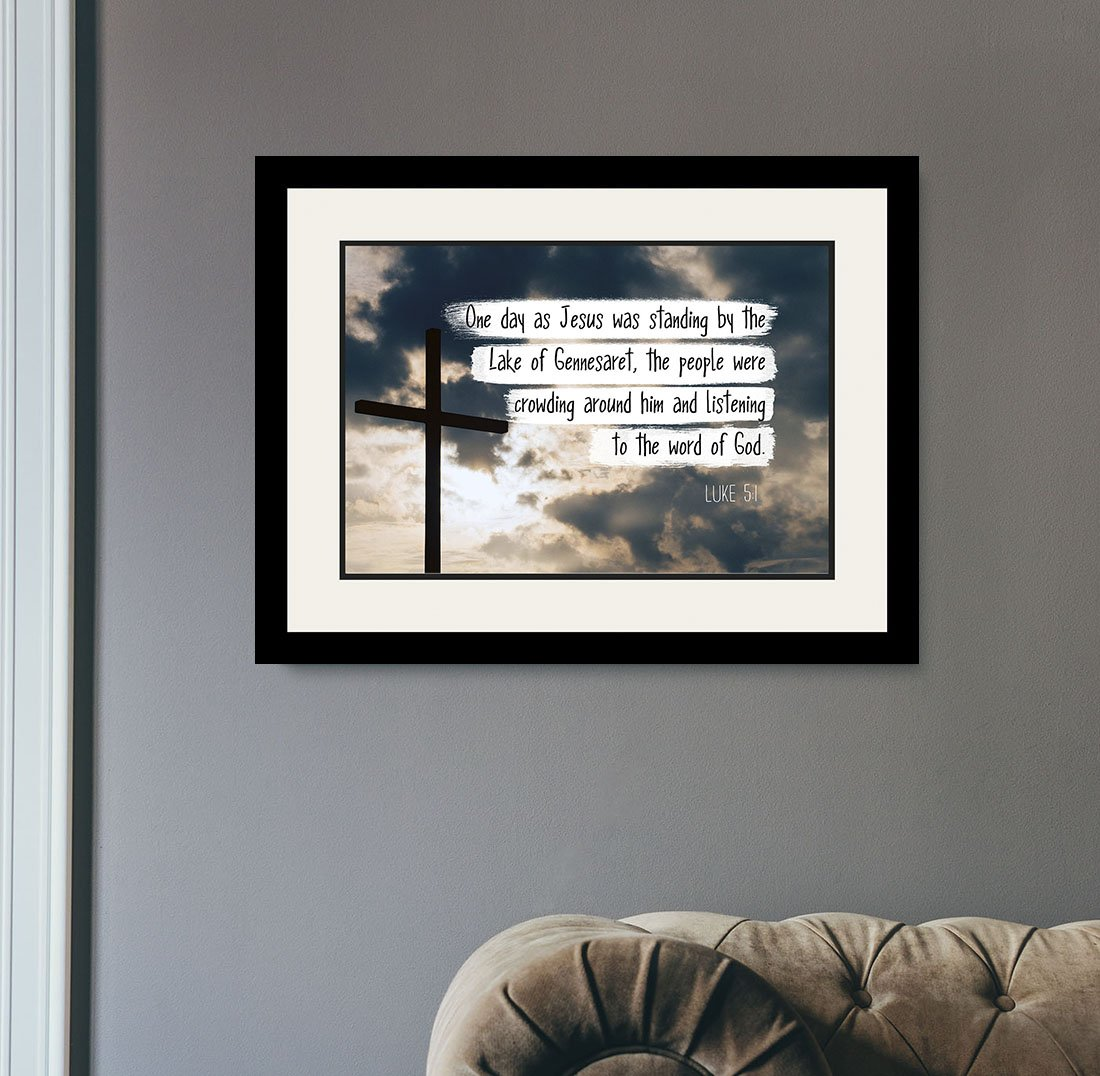 Luke 5:1 Listening to the word of God - Christian Poster, Print, Picture or Framed Wall Art Decor - Bible Verse Collection - Religious Gift for Holidays Christmas Baptism (19x25 Framed) by WeSellPhotos (Image #2)
