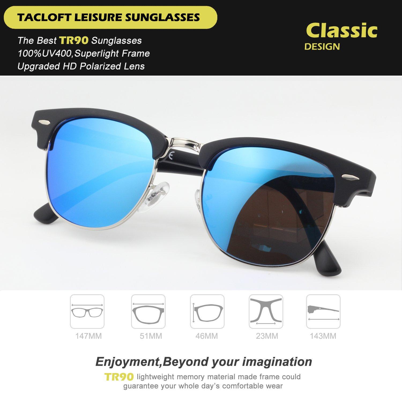 e7cb1a2a0bb Tacloft Classic Clubmaster Sunglasses Polarized 51MM Horn Rimmed Sunglasses  Half Frame TL6005 (Black Frame Revo Blue Lens)  Amazon.co.uk  Kitchen   Home