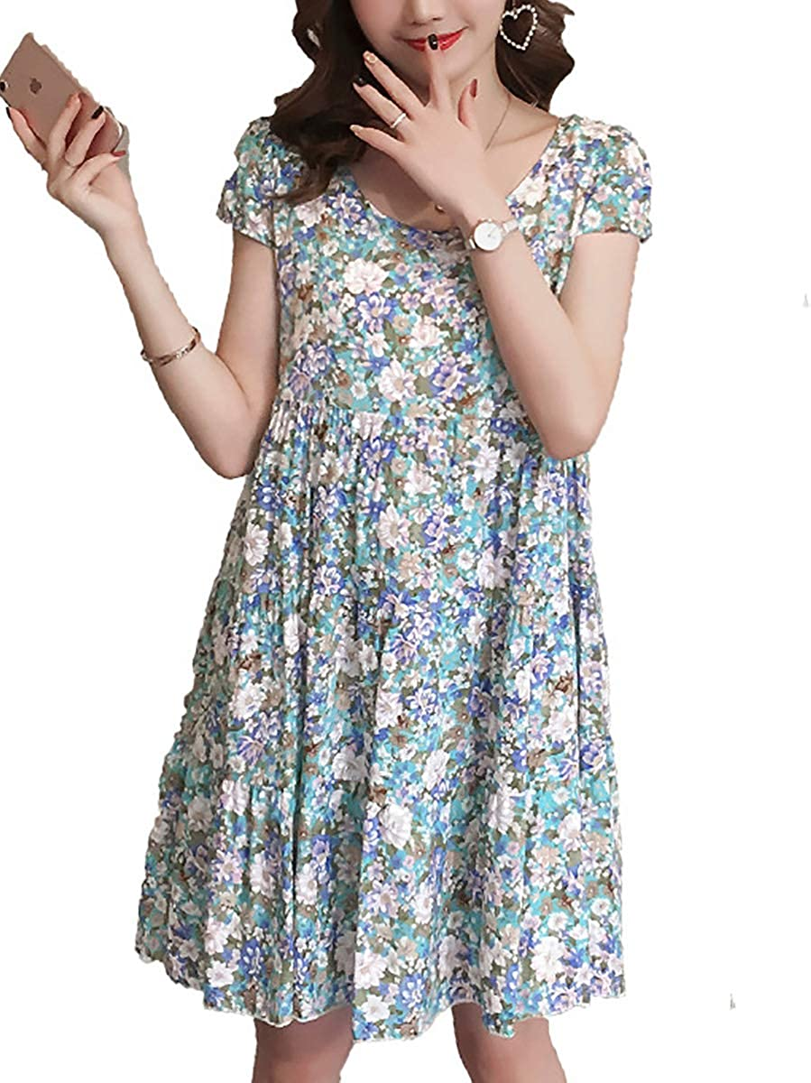 Selfieee Womens Round Neck Knee Length Short Sleeve Floral Printed Cotton Summer Maternity Dresses CM00032