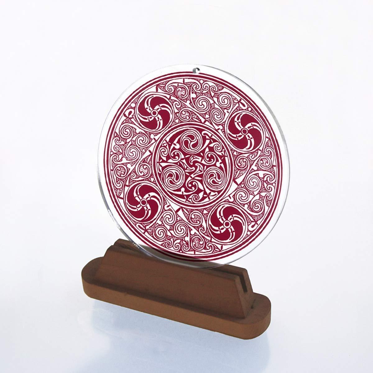 52 Sonnenf/änger Mandala 4 /Ø 10cm Glasbild rund Gothik keltisches Symbol Aufh/änger Fensterbild bruchsicheres Acrylglas Suncatcher Blickfang Geschenk Dekoration rot Nr EINWEG Verpackung