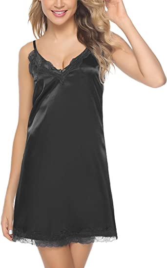 Hawiton Women Satin Negligee Nightdress Short Satin Nighties V Neck Spaghetti Strap Chemise