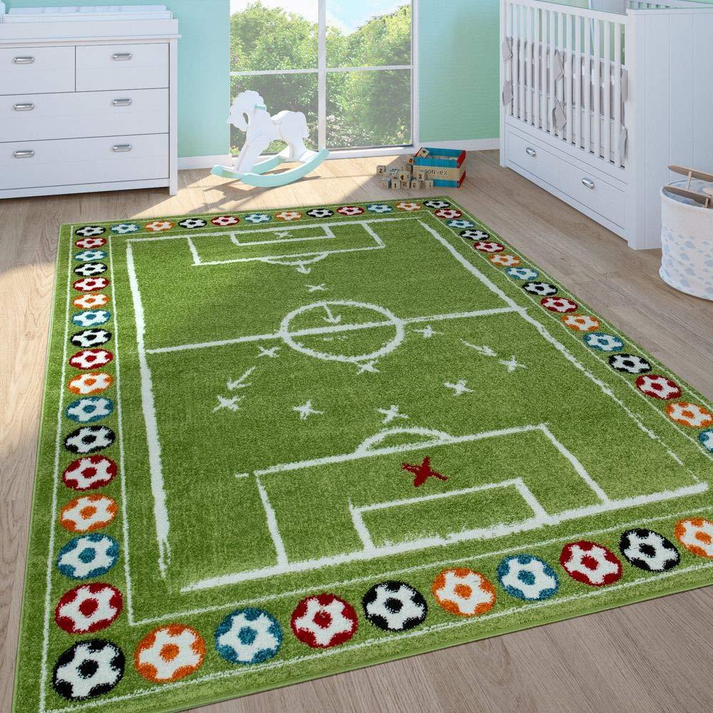 Paco Home Kinderteppich Kinderzimmer Spielteppich Kurzflor Spielfeld Fu/ßball In Gr/ün Gr/össe:160x220 cm