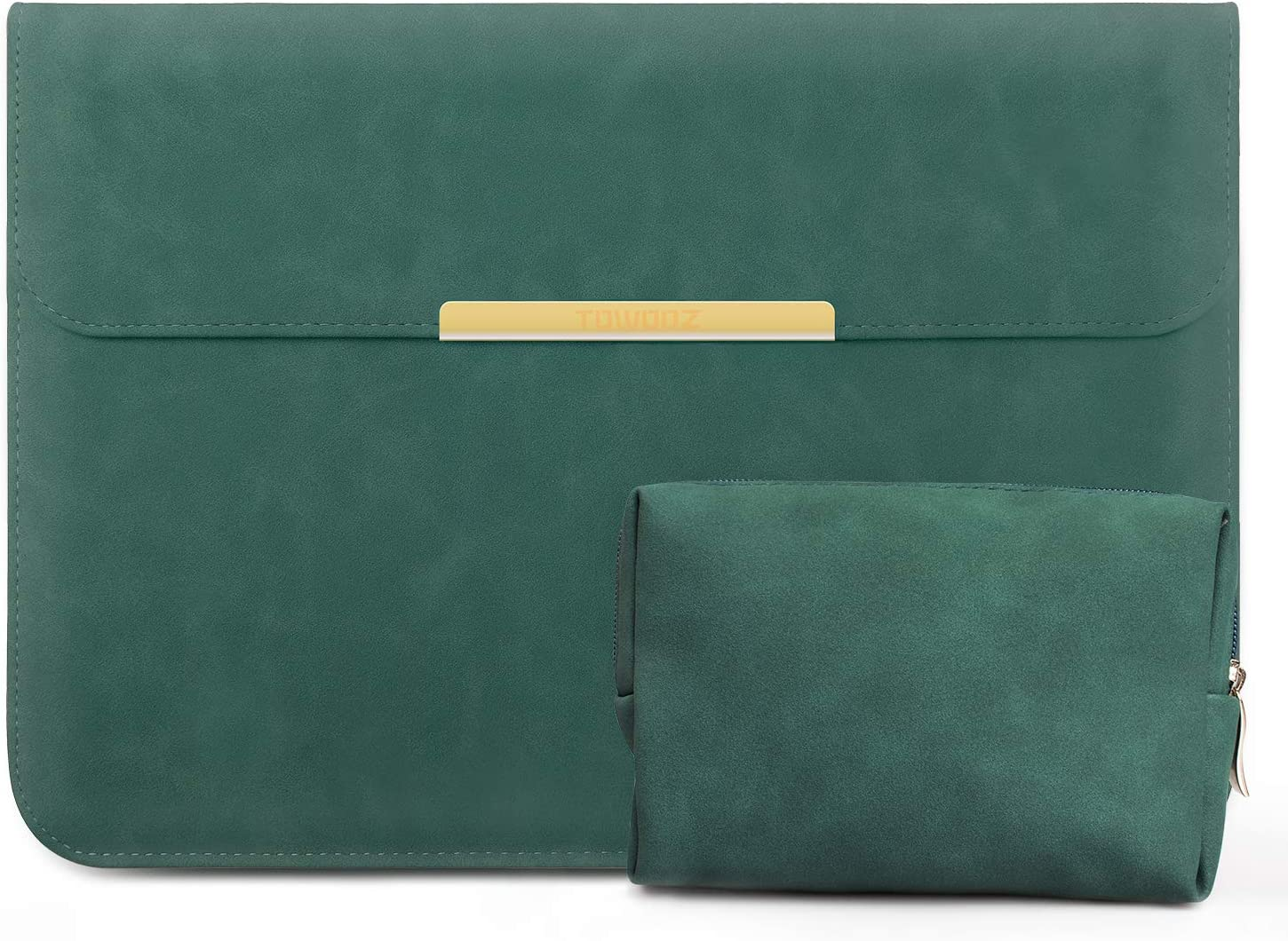 TOWOOZ Laptop Sleeve Case with Accessory Pouch for 13.3-inch MacBook Air/Pro/iPad Pro 12.9 / Dell XPS 13/ Surface Pro X, Faux Suede Leather Case (13-13.3inch, Green)