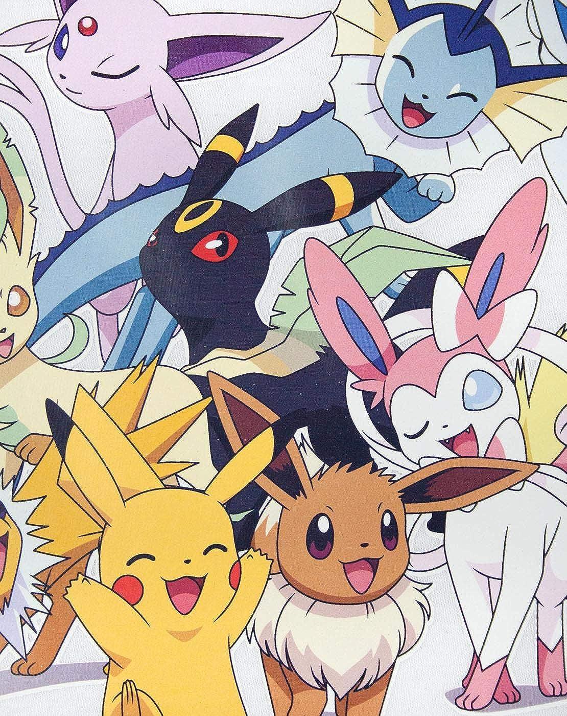 7-8 Years White Vanilla Underground Pokemon Pikachu /& Eevee Evolutions Girls T-Shirt