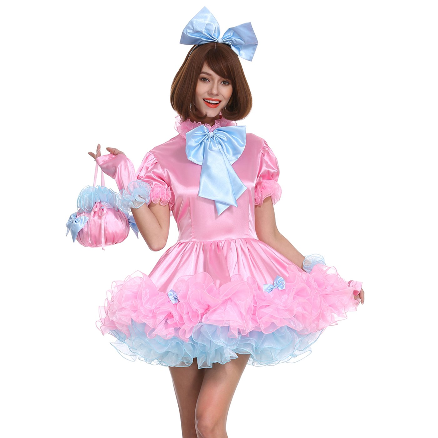 GOceBaby Sissy Girl Lockable Maid Bow Pink Dress Stain Puffy Crossdress Uniform