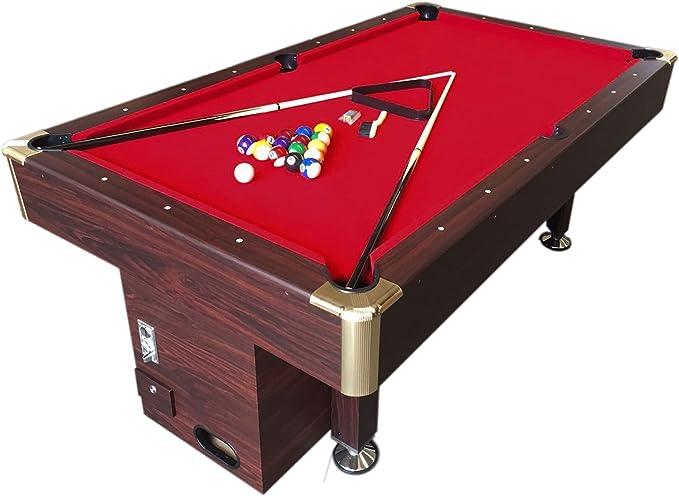 Mesa de billar juegos de billar pool 8 ft Modelo ULISSE Rojo Medición de 220 x 110 cmcarambola con monedero electrónico - Nuevo embalado: Amazon.es: Deportes y aire libre