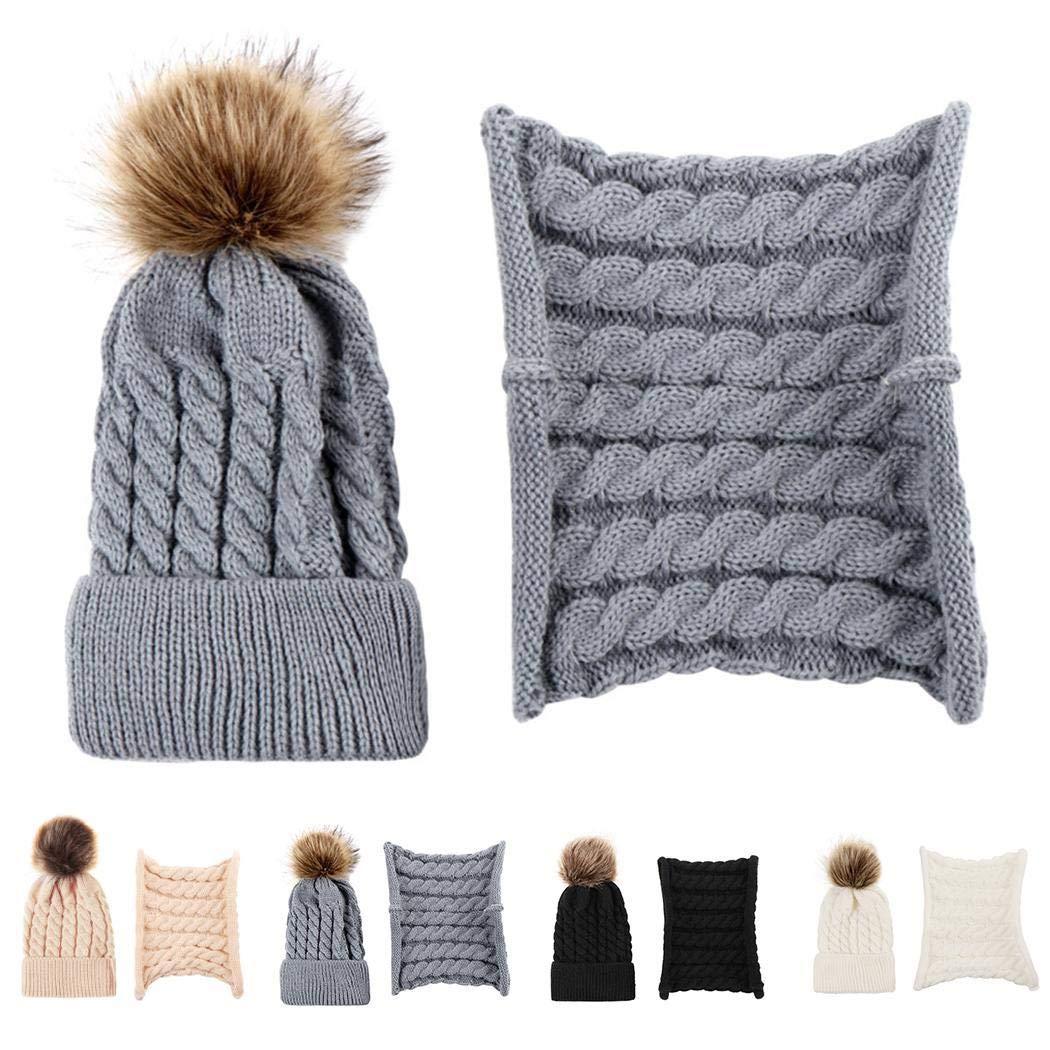 pairris Bambini Ragazzi Ragazze Inverno Cappelli Caldi Elastici in Peluche Singolo con Sciarpa Cappelli e Cappellini