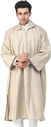 Exotic India de lana pura para hombre phiran de cachemira con cremallera frontal