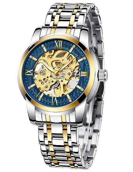 Relojes Hombre Reloj Mecánico Automatico Esqueleto Diseño Elegante Acero Inoxidable Dorado Impermeable Relojes de Pulsera Militar Analógico Luminosos