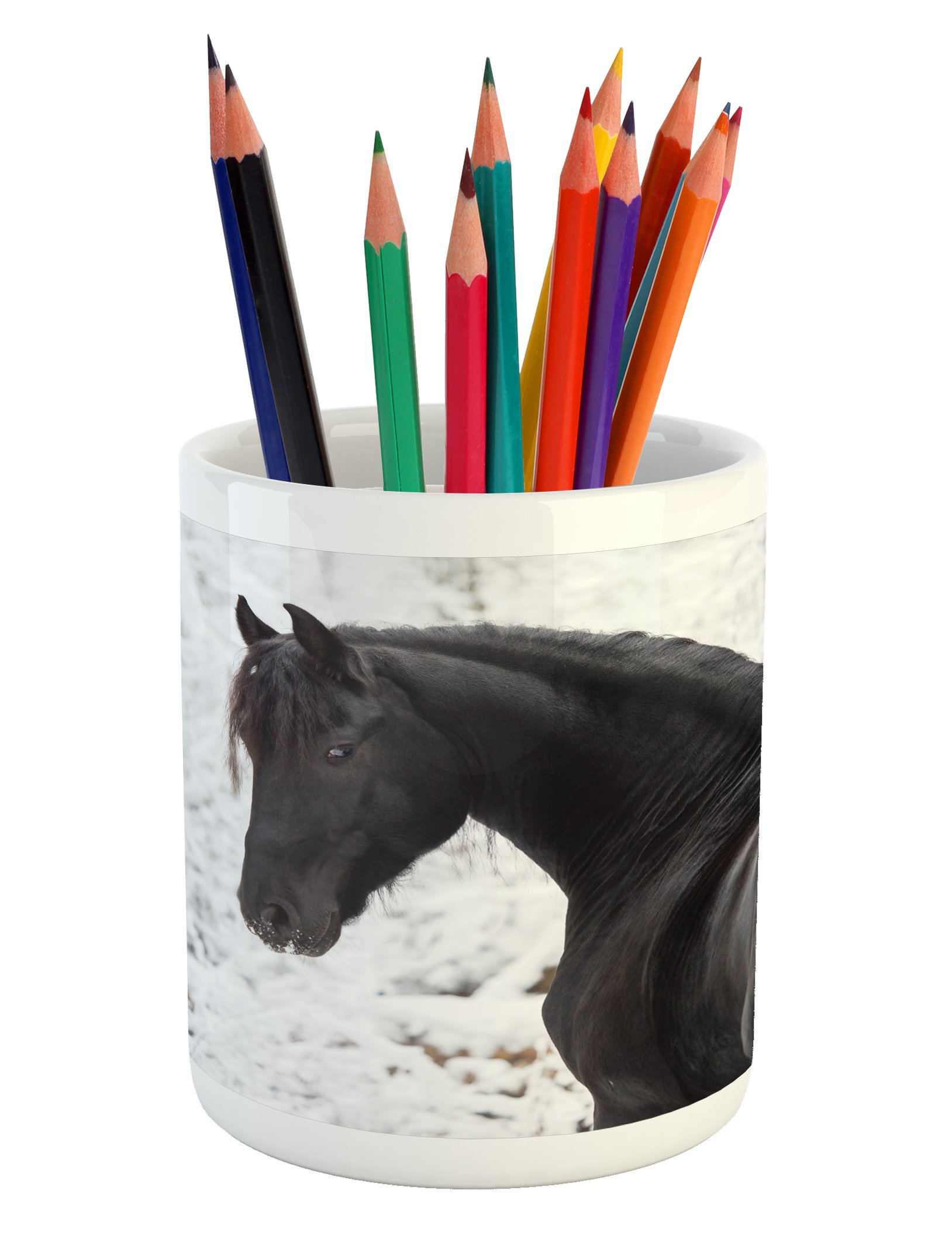 Ambesonne Equestrian Pencil Pen Holder, Black Friesian Sport Horse Portrait on a Snowy Winter Background Novelty Picture, Printed Ceramic Pencil Pen Holder for Desk Office Accessory, White