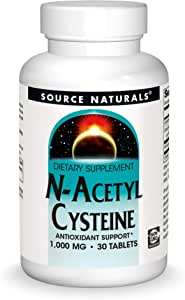 Source Naturals N-Acetyl Cysteine Antioxidant Support 1000 mg Dietary Supplement That Supports Respiratory Health - 30 Tablets