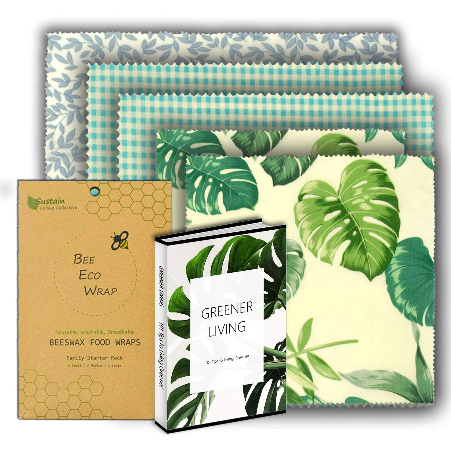 Beeswax Wraps Reusable Food and storage Wraps Plastic Free Eco-Friendly Assorted 5 pack 2xSmall 2xMedium 1xLarge by Bee Eco Wraps