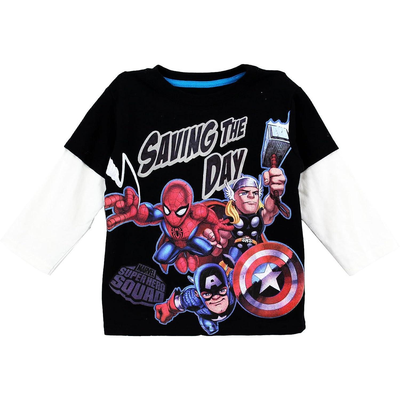 Black t shirt amazon - Amazon Com Super Hero Squad Toddler Boys Long Sleeve Shirt Saving The Day Black Tee Infant And Toddler Shirts Clothing