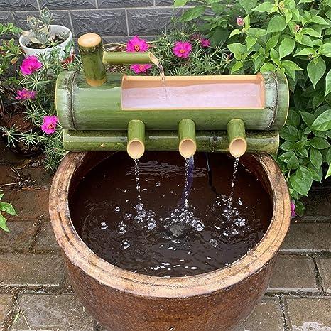 XYSQWZ Fuente De Bambú Decoración Jardín Caño Agua con Bomba Cascada Esculturas Japonesas Al Aire Libre Estatuas Artes Artesanías para Estanque Tanque Peces Patio: Amazon.es: Deportes y aire libre