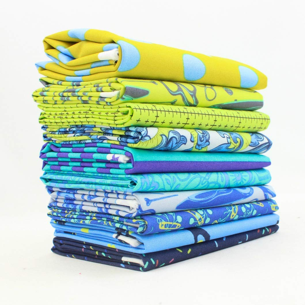 Tula - Green and Blue - Half Yard Bundle (KS.EB.10Y) by Tula Pink for Free Spirit