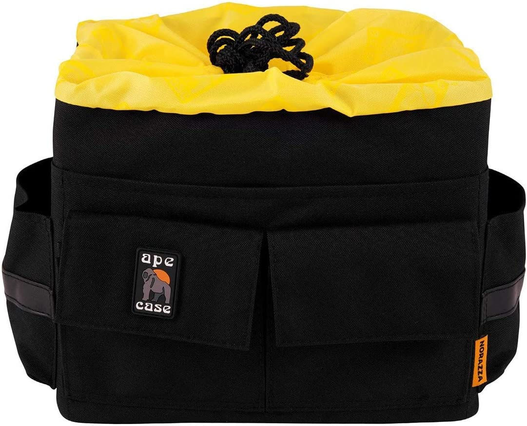 Ape Case ACQB 45 Pro Series Cubeze Flexible Padded Storage Bag, Removable And Adjustable Padded Inserts, Drawstring Closure, Hi-Vis Yellow Interior,  Multiple Exterior Pockets For Accessories; For DSLR And Accessories For Canon,Nikon,Olympus,Sony,Fuji