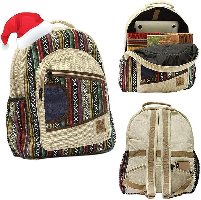Large Hemp Backpacks - Boho/Aztec Stripe Multi Pocket Hippie/Tribal Laptop Bags