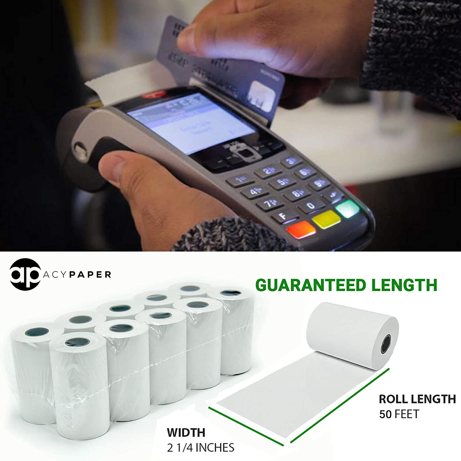 """B07GLZXVFP ACYPAPER, 2 1/4\"""" x 50\' Thermal Paper Rolls 