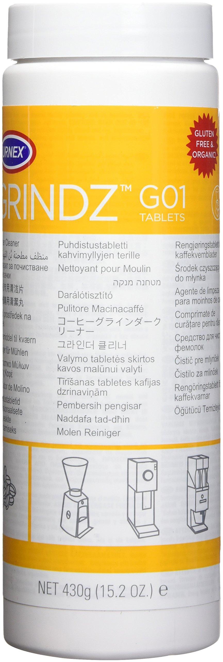 Urnex Grindz Professional Coffee Grinder Cleaning Tablets - 430 grams - All Natural Food Safe Gluten
