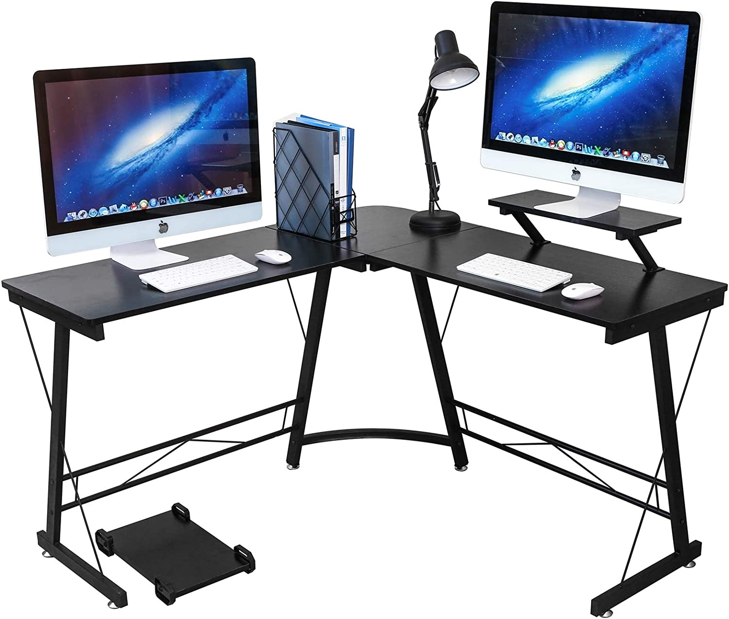 """L Shaped Desk Home Office Corner Desk,Gaming Computer Desk,PC Latop Study Writing Table Workstation with Large Monitor Stand,Blak,50.8"""""""