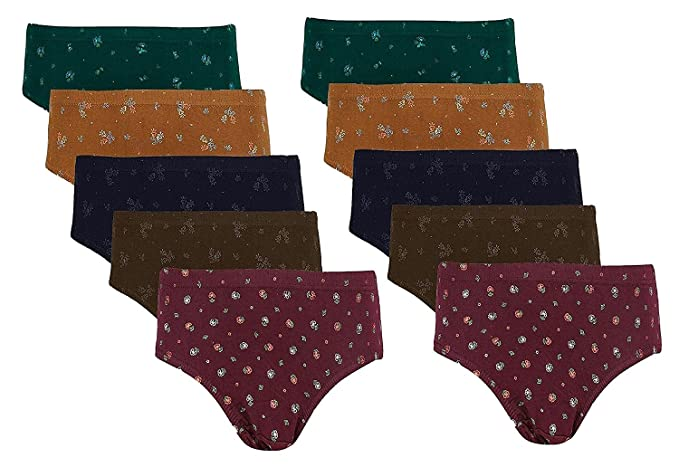 cfd8b1e0475b0 Dixcy Josh Women s Premium Cotton Printed Panties Pack of 10  Amazon ...