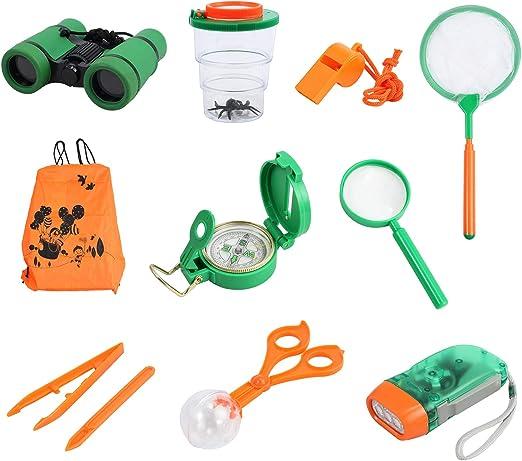 Proster Kit Explorador Naturaleza para Niños 12 en 1–Conjunto de Juguetes Educativos de Exploración con Binocular Lintera Manivela Brujula Lupa Captura de Inserctos Mochila para Excursión Safari: Amazon.es: Juguetes y juegos