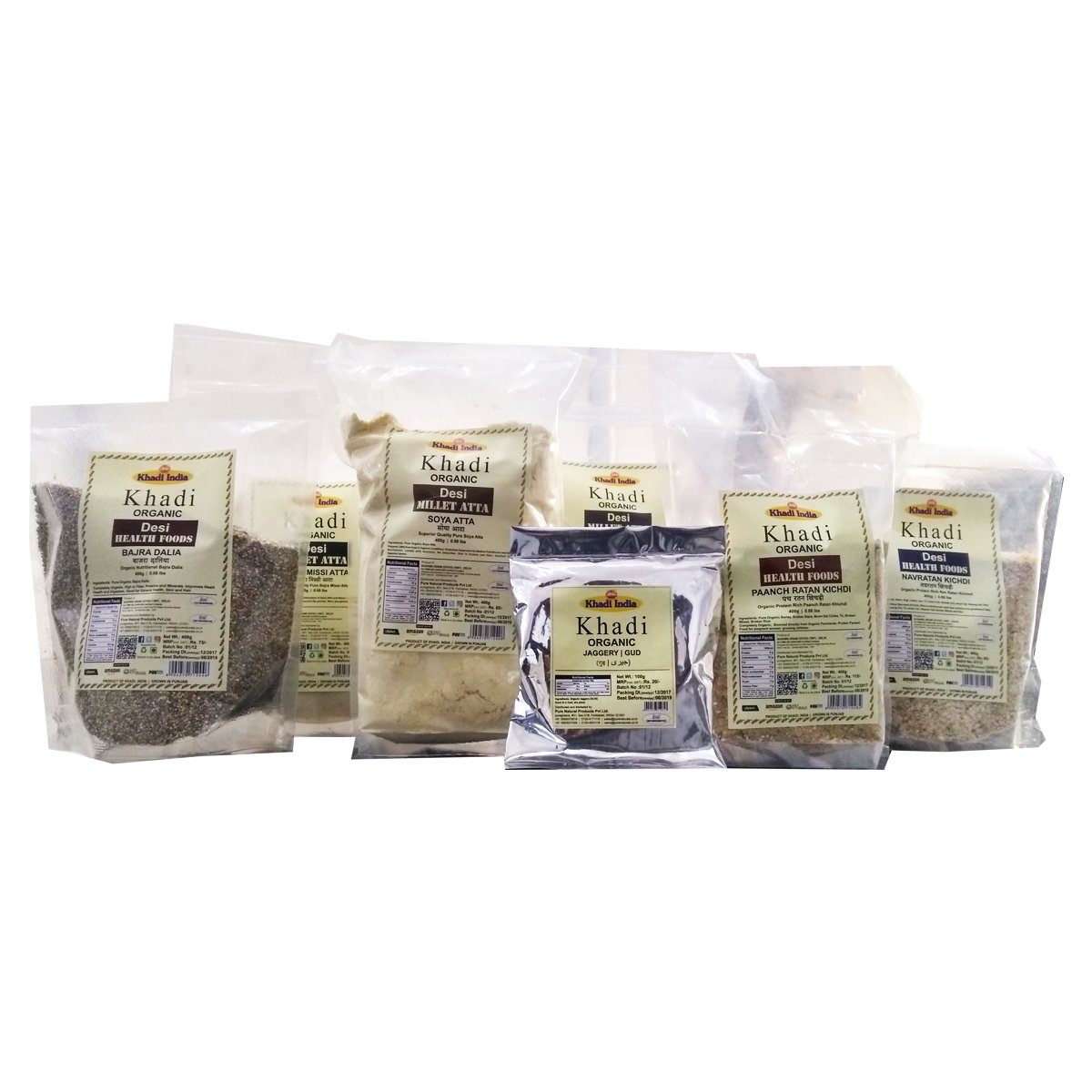 Khadi Organic Bajra Bhog Kit (2.7 Kg) - Winter Special Combo of Bajra Atta (400gm) + Bajra Dalia (400gm) + Bajra Missi Atta (400gm) + Panch Ratan Khichdi (400gm) + Nav Ratan Khichdi (400gm) + Soya Att