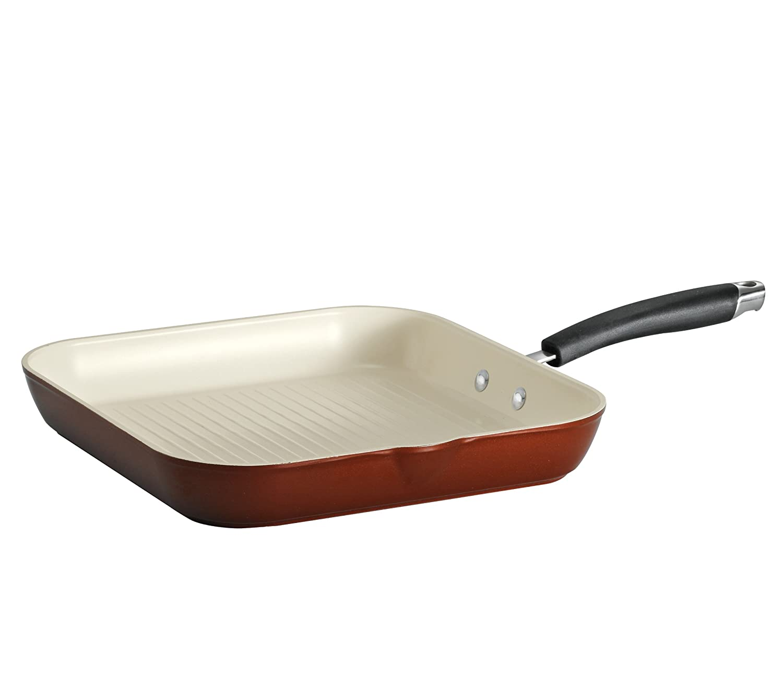 Tramontina 80110/047DS Style Ceramica 01 Square Grill Pan, 11-Inch, Metallic Copper