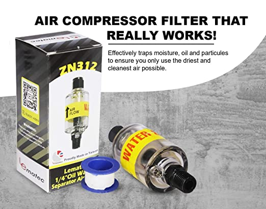 For Air Tools Air Compressor Dryer with Drain Valve Plasma Cutters Air Compressor Filter ZN312 Water Separator and Air Lines