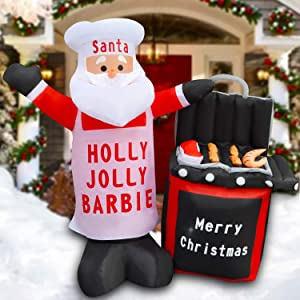 SEASONBLOW 5 Ft LED Light Up Inflatable Christmas Chef Santa Claus Barbecue Holly Jolly BBQ Xmas Decoration for Yard Lawn Garden Home Party Indoor Outdoor