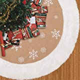 "MACTING 35"" Christmas Tree Skirt with White Snowflake Printed, Countryside Burlap White Fur Edge, Double Layer Xmas Tree Skir"