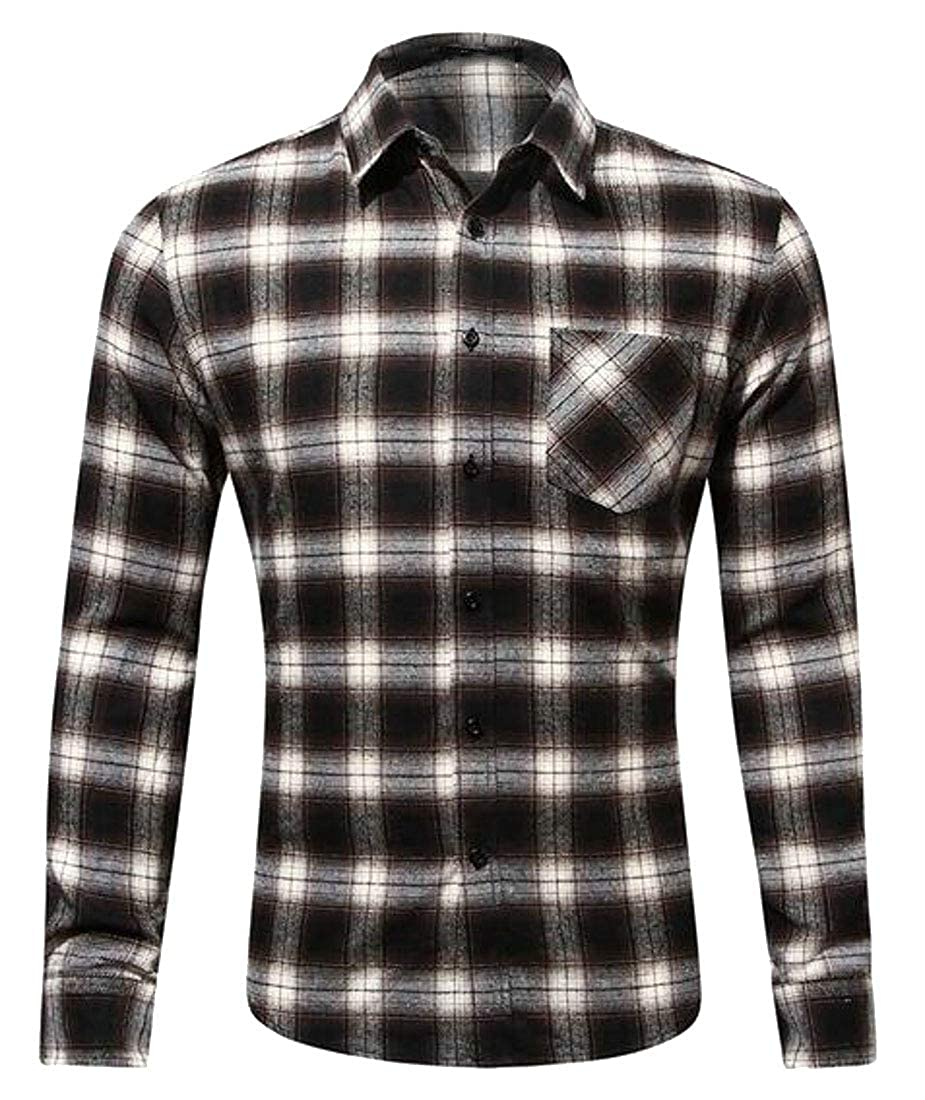 Fubotevic Mens Button Down Long Sleeve Plus Size Plaid Dress Flannel Checkered Shirt