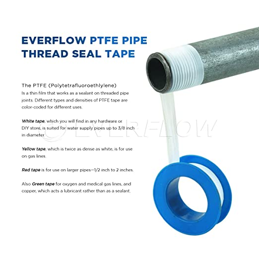 Everflow 812 PTFE Thread Seal Tape for Plumbers, White 3/4 Inch x 260 Inch