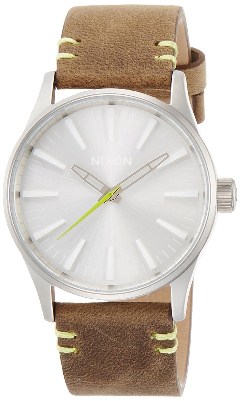[ニクソン]NIXON 腕時計 SENTRY 38 LEATHER: BROWN/LIME NA3772290-00 【正規輸入品】 B01EHSAVAY