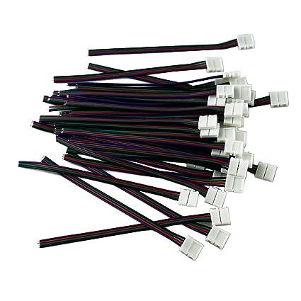 10 mm de ancho sin soldadura de 4 hilos conector para tira LED luz adaptador de