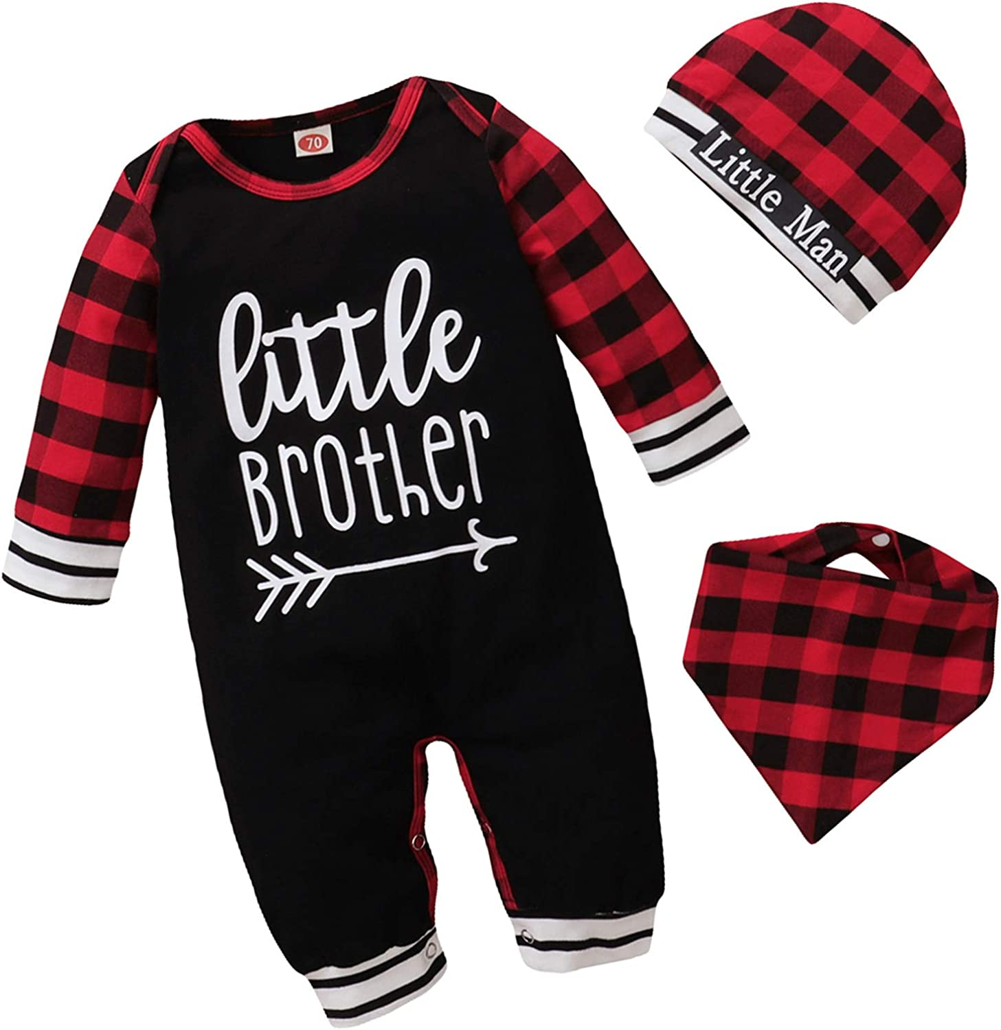 Baby Boy Christmas Little Brother Clothes Newborn Long Sleeve Xams Plaid Romper Jumpsuit Hat Bibs Coming Home Outfit