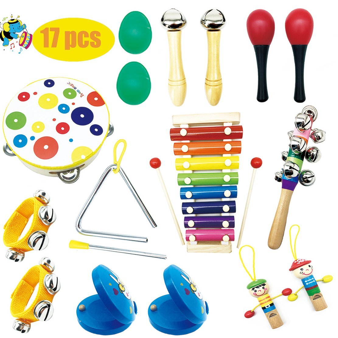 Musical Percussion Instrument Set 17 PCS Baby Music Band Education Percussion Toys for Toddlers Kids Preschool Children with Kids Zipper Handbag Formwin SELLER