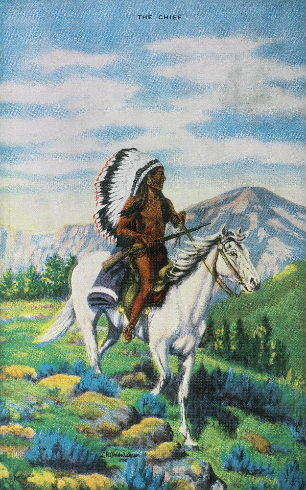 Westernシーン – View of a Native American Chief on horseback 12 x 18 Signed Art Print LANT-23975-12x18S B077VL3SMG 12 x 18 Signed Art Print