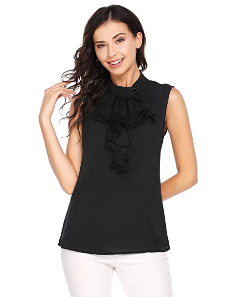7d28f614e4f Cidere Women Ruffle Sleeveless Mock Collar Lace-Trimmed Patchwork Button  Tank Top Blouse Shirts