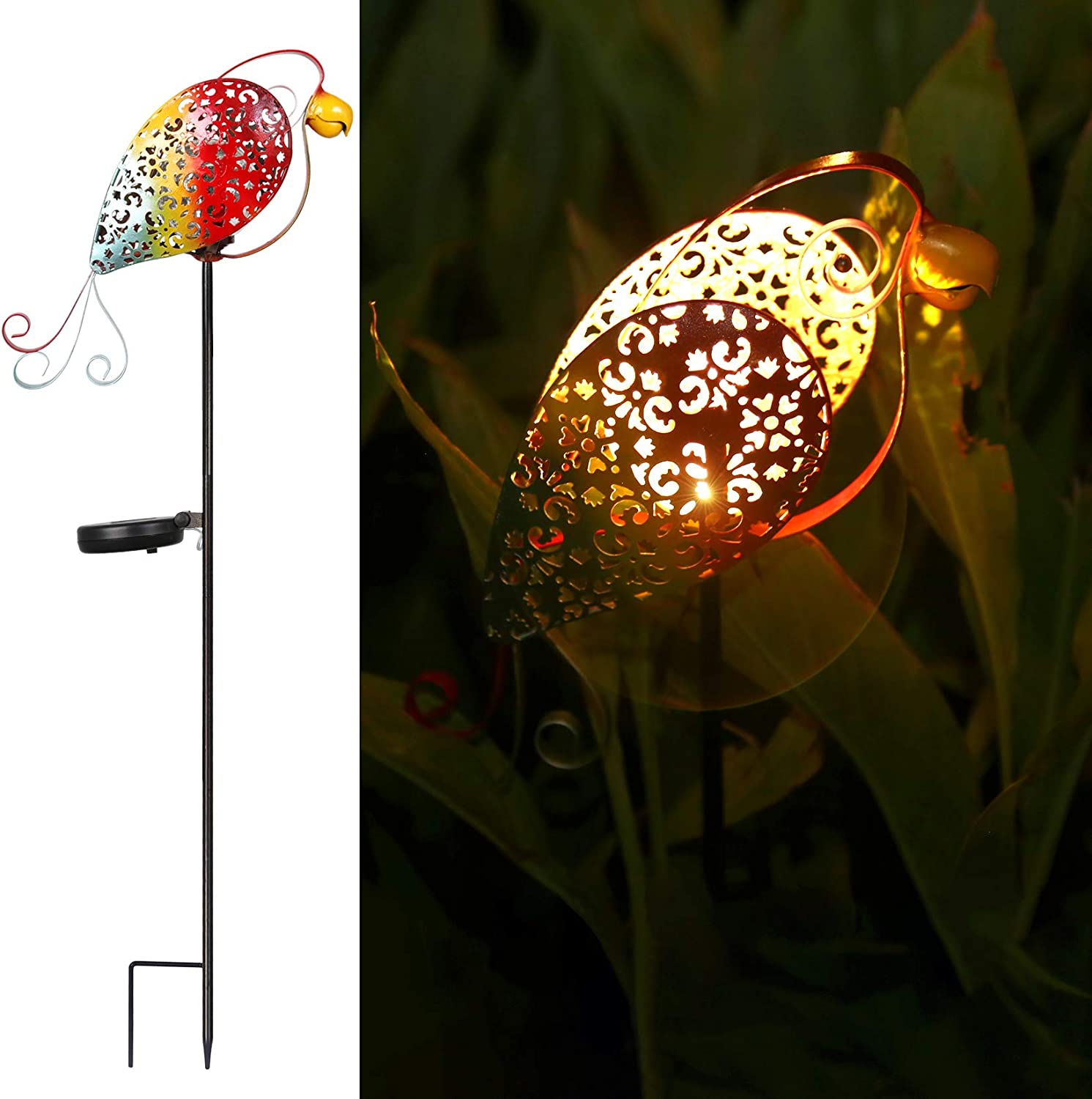 Parrot Solar Garden Light Toco Outside Yard Lights Outdoor Decorative Stake Cute Patio Decor Pathway Lawn Path Decorations Metal Landscape Waterproof Gifts Backyard 1 Pack