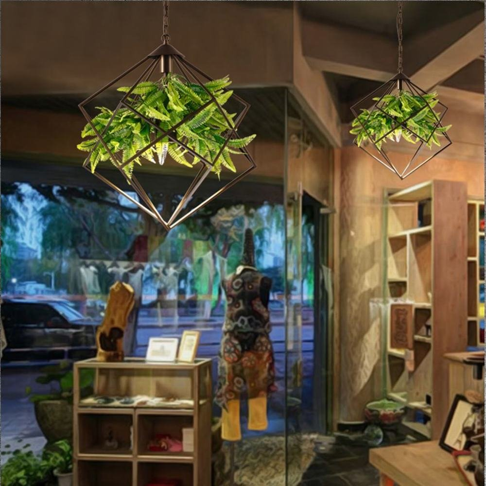 DEN Walnut country chandeliers Nordic creative restaurant study bar fashion wrought iron personality green lights,A,in by DEN (Image #2)