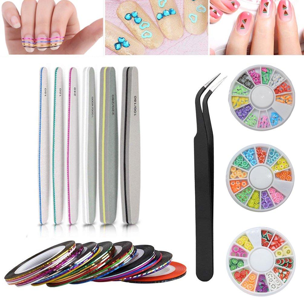 Juego de uñas, bloque de limas de uñas, 30 rayas, pegatina de decoración de uñas, diseño de flores de mariposa 3D, pegatinas para uñas de frutas, pinzas de manicura de doble cara SuperCat