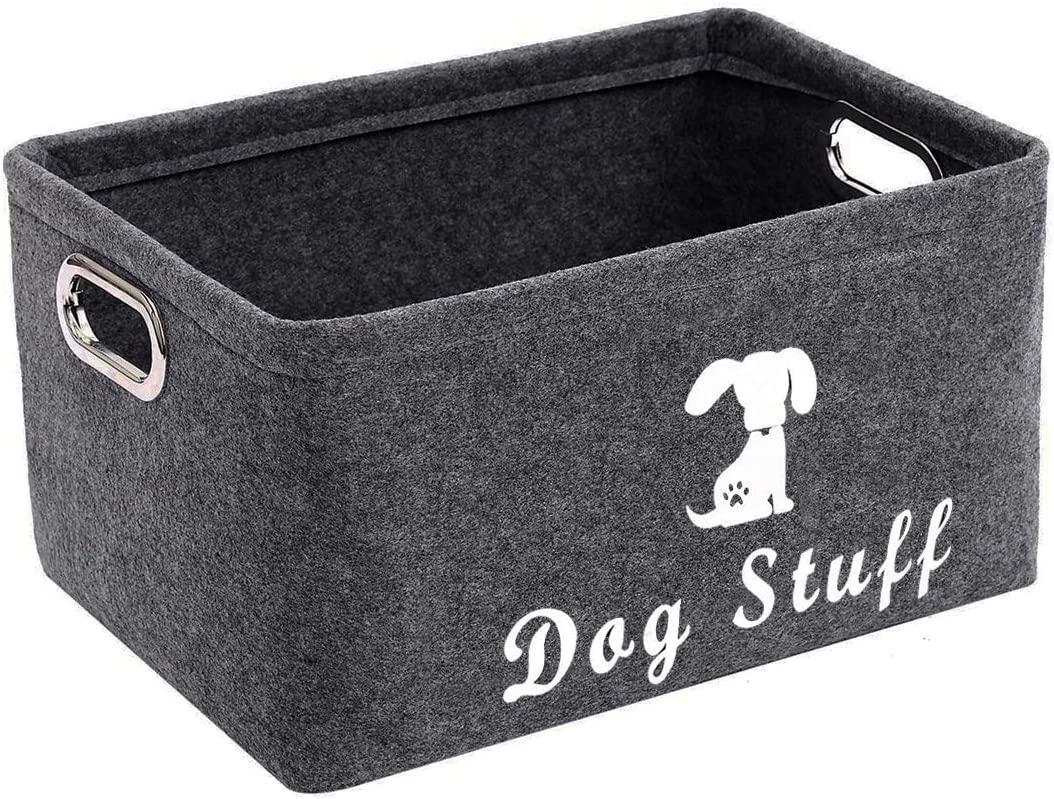 ECOSCO Felt Pet Dog Cat Toy Storage, Collapsible Convenient Organizer Basket, Space-Saving Box for Organizing pet Toys Blankets leashes and Food